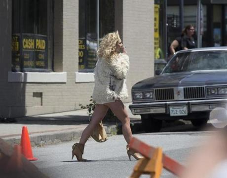 Juno Temple filmed a scene smoking a cigarette while crossing Buffum St. on June 11.